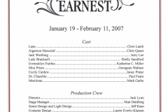 The Importance of Being Earnest Jan 2007